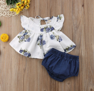 2 piece Blue and White floral set