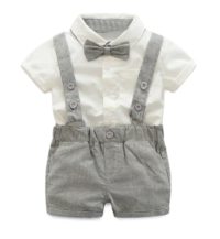 Grey and white boys 3 piece suit