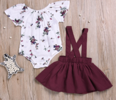 Wine red and white 2 piece